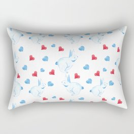 Blue and red hearts and blue rabbits Rectangular Pillow
