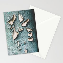 Rustic old light blue green peeling paint Stationery Cards