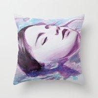siren Throw Pillows featuring Siren by Arielle Walker
