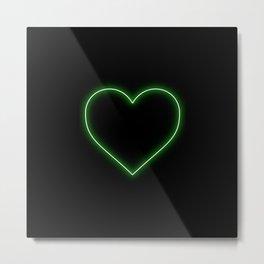 Neon Green Valentines Love Heart Metal Print