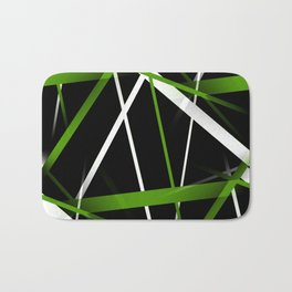 Seamless Grass Green and White Stripes on A Black Background Bath Mat