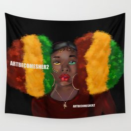 Red, Gold & Green Giant Afro Puffs Wall Tapestry