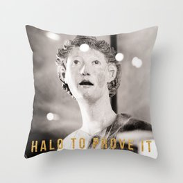 Halo To Prove It Travel Photography In The Louvre With Snark in Gold Foil Typography Throw Pillow