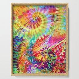 Crumpled Spiral Rainbow Tie Dye Serving Tray