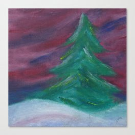 Wintery Tree with Aurora Sky Canvas Print