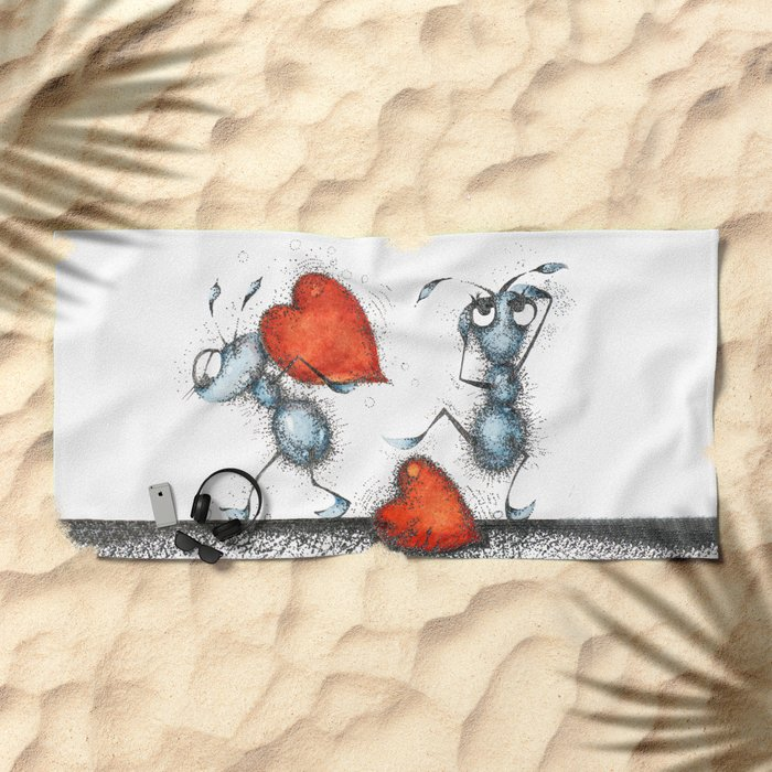 Two ants with hearts Beach Towel