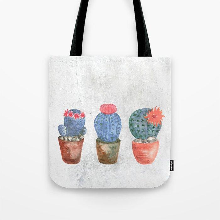 Three Blue Cacti watercolor Tote Bag