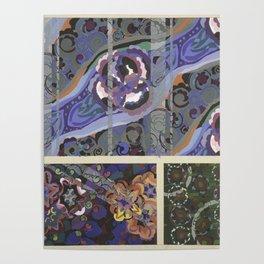 vintage marbled art deco pattern design Poster