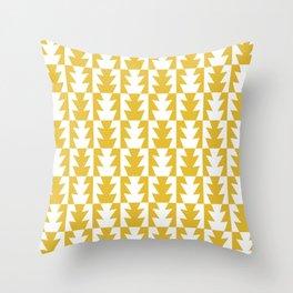 Art Deco Jagged Edge Pattern Mustard Yellow Throw Pillow