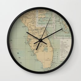 Vintage Lighthouse Map of Florida (1898) Wall Clock