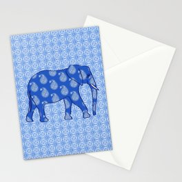 Paisley elephant, Cobalt Blue and White Stationery Cards