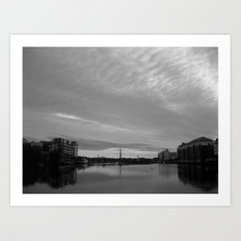 Dublin Morning Black & White Art Print