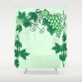Abstract grapevine with frame from leaves Shower Curtain