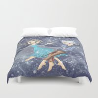 jack frost Duvet Covers featuring Jack Frost and Elsa by Mayying