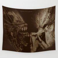 predator Wall Tapestries featuring Alien vs Predator by Jorgenson Art Syndicate