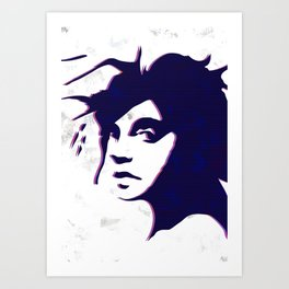 street art style girl in blue and pink on marble pattern Art Print