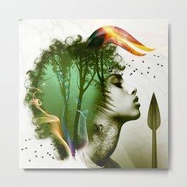 Teal Afro Metal Print