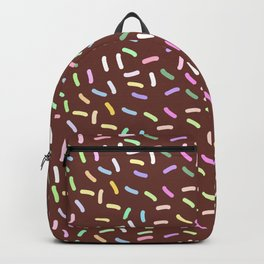 chocolate Glaze with sprinkles. Brown abstract background Backpack