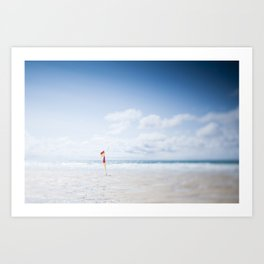 tilt and shift Lifeguard flag, Fistral Beach, Cornwall Art Print