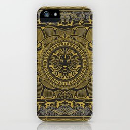 Medallion Lion Black Gold iPhone Case