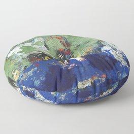 Finback Abstract Blue Green Floor Pillow