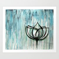 Lotus in the Rain II Art Print
