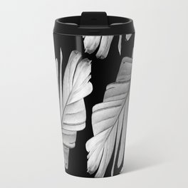 Tropical Gray White Banana Leaves Dream #1 #decor #art #society6 Travel Mug