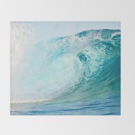 Pacific big surfing wave breaking Throw Blanket