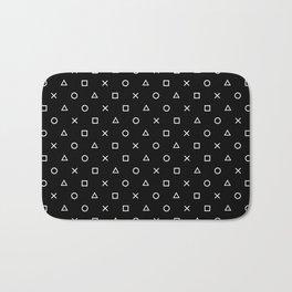 Gamer Pattern (White on Black) Bath Mat