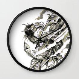 Dragon Phoenix Tattoo Art Print Wall Clock