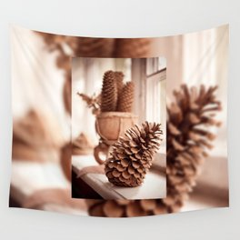 Large old dried cones on windowsill Wall Tapestry