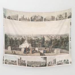 Vintage Pictorial Map of Washington DC (1849) Wall Tapestry