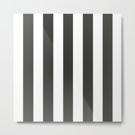 Black olive grey - solid color - white vertical lines pattern Metal Print