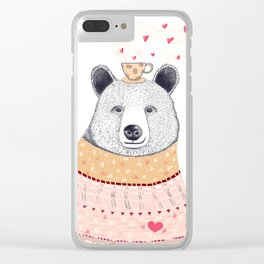 Bear lover of coffee Clear iPhone Case