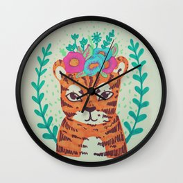 lil' tiger with flowers Wall Clock