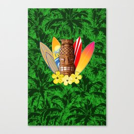 Surfboards And Tiki Mask Palm Trees Canvas Print