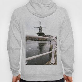 Iconic mill 'The Adrian' III in Haarlem alongside a frozen Spaarne canal | Ice skating | Reflections | Architectural fine art print Hoody