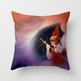 the girl and the umbrella Throw Pillow