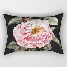 Wilting Pink Rose Watercolor on Charcoal Black Rectangular Pillow