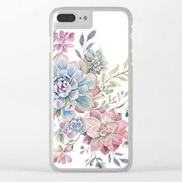 succulent watercolor 6 Clear iPhone Case