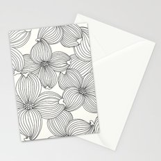 Dogwood Floral Linear: Black Ivory Stationery Cards