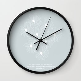 The Grass Withers and the Flower Fades... Floral Line Art Sketch -Isaiah 40:8 Blue Wall Clock