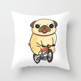 Funny Pug Puppy Riding a Bicycle Dog Throw Pillow
