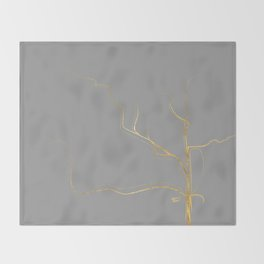 Kintsugi 3 #art #decor #buyart #japanese #gold #grey #kirovair #design Throw Blanket