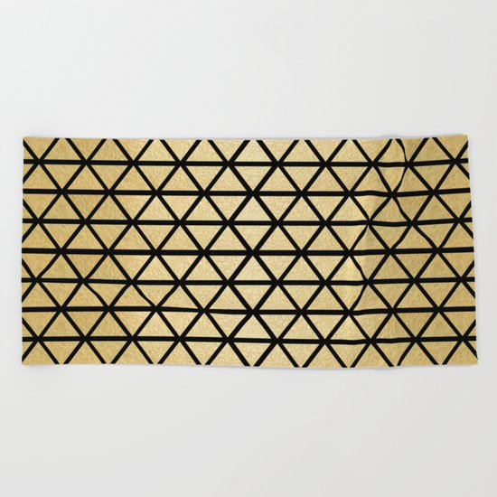 Black and Gold Geometric Pattern 3 Beach Towel
