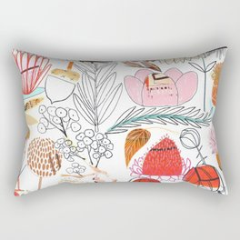 Collage Flowers - Red Rectangular Pillow