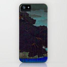 Vintage Japanese Woodblock Print Raining Landscape Tree On Rock Leaning Into The Lake Comforting Nig iPhone Case