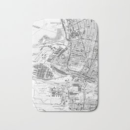 Vintage Map of Oakland California (1959) BW Bath Mat