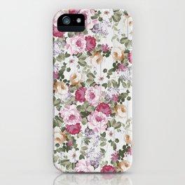 Vintage rustic white wood blush pink floral iPhone Case