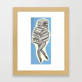 Stack of Books with Legs Framed Art Print